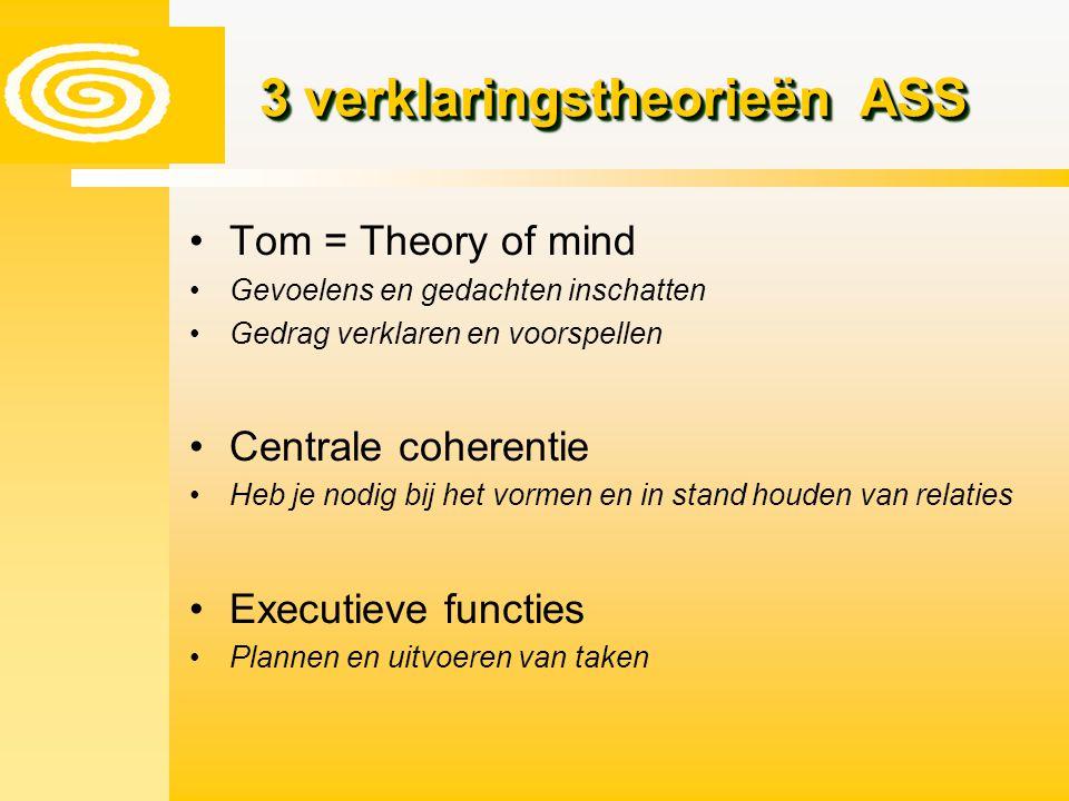 Tom = Theory of mind Gevoelens en gedachten inschatten Gedrag verklaren en voorspellen Centrale coherentie Heb je nodig bij het vormen en in stand hou