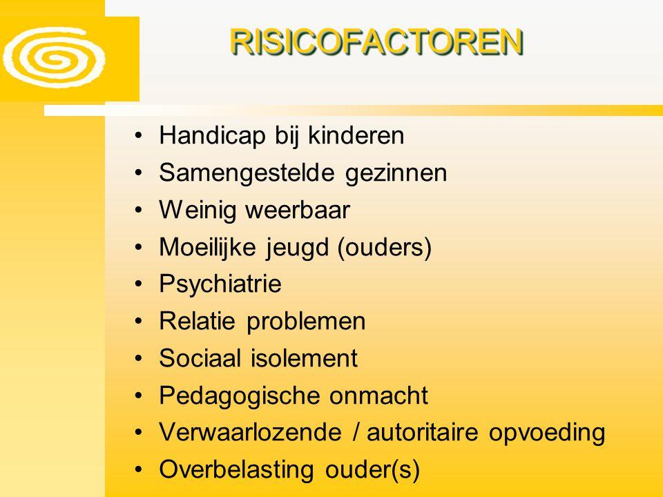 RISICOFACTORENRISICOFACTOREN Handicap bij kinderen Samengestelde gezinnen Weinig weerbaar Moeilijke jeugd (ouders) Psychiatrie Relatie problemen Socia