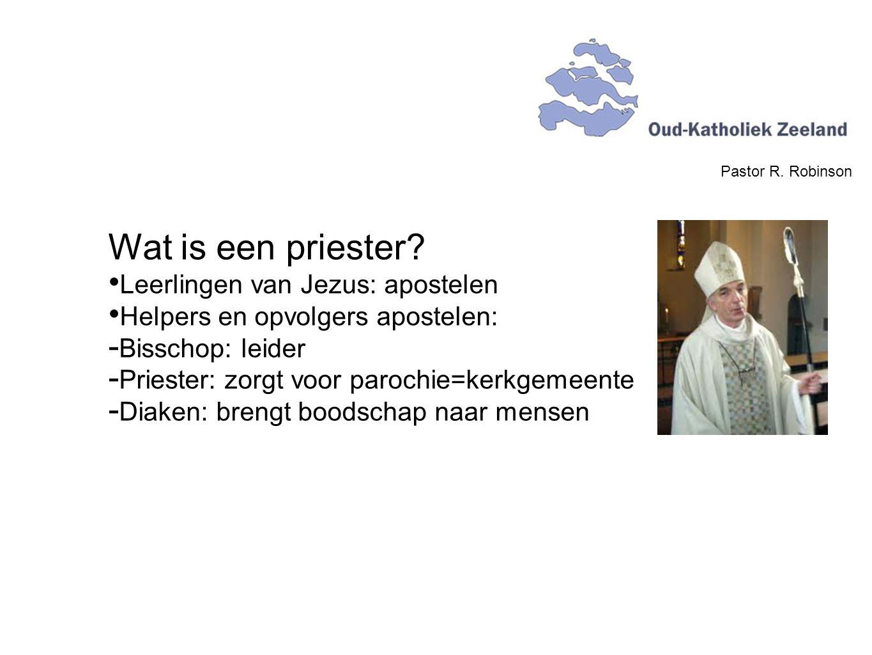 Pastor R. Robinson Wat is een priester? Leerlingen van Jezus: apostelen Helpers en opvolgers apostelen:  Bisschop: leider  Priester: zorgt voor paro