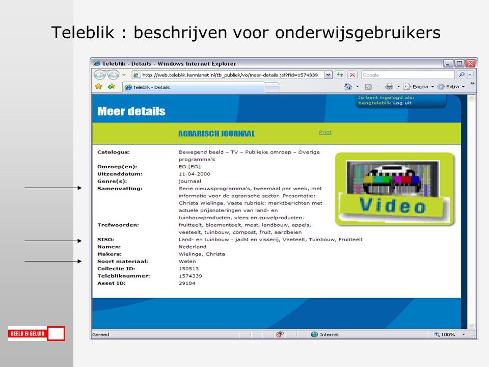 Teleblik : beschrijven voor onderwijsgebruikers