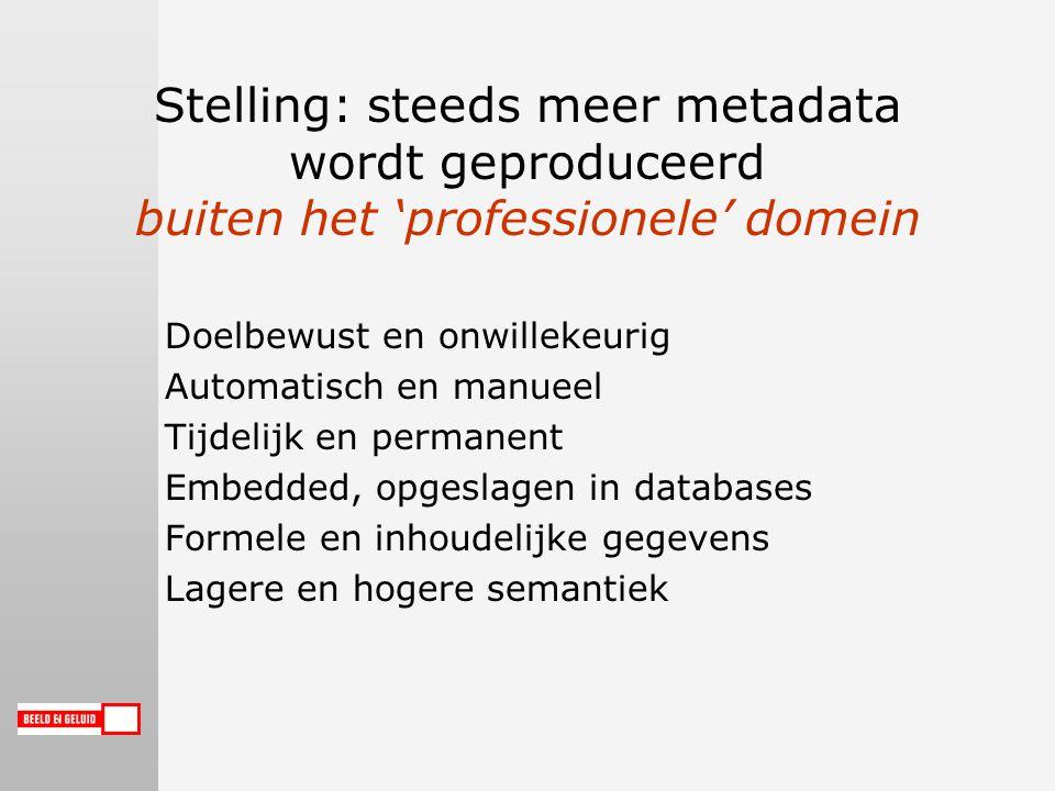 Stelling: steeds meer metadata wordt geproduceerd buiten het 'professionele' domein Doelbewust en onwillekeurig Automatisch en manueel Tijdelijk en permanent Embedded, opgeslagen in databases Formele en inhoudelijke gegevens Lagere en hogere semantiek