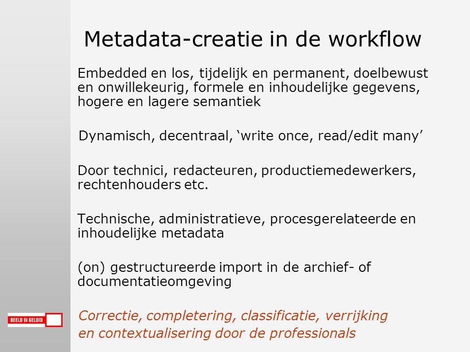 Metadata-creatie in de workflow Embedded en los, tijdelijk en permanent, doelbewust en onwillekeurig, formele en inhoudelijke gegevens, hogere en lagere semantiek Dynamisch, decentraal, 'write once, read/edit many' Door technici, redacteuren, productiemedewerkers, rechtenhouders etc.
