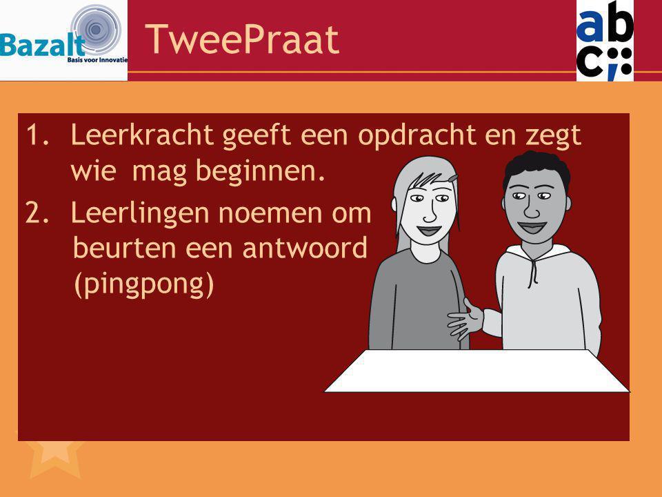 TweePraat 1.Leerkracht geeft een opdracht en zegt wiemag beginnen.