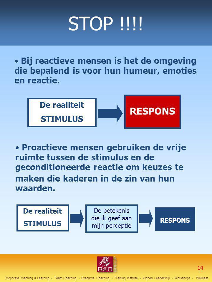 De realiteit STIMULUS RESPONS Bij reactieve mensen is het de omgeving die bepalend is voor hun humeur, emoties en reactie. De realiteit STIMULUS RESPO