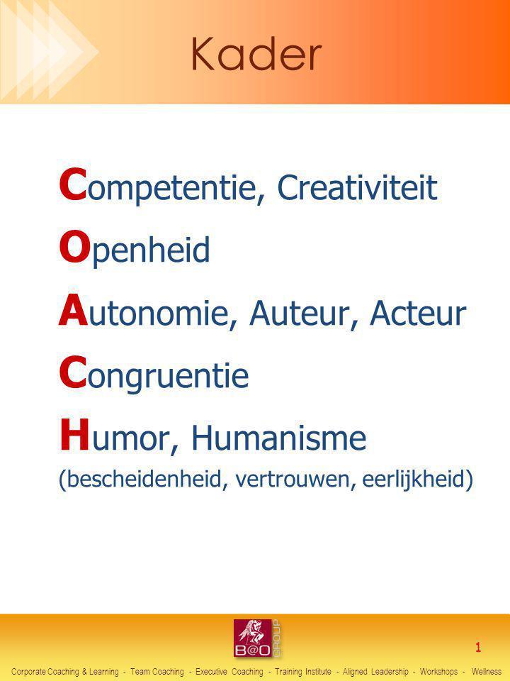 C ompetentie, Creativiteit O penheid A utonomie, Auteur, Acteur C ongruentie H umor, Humanisme (bescheidenheid, vertrouwen, eerlijkheid) Corporate Coa