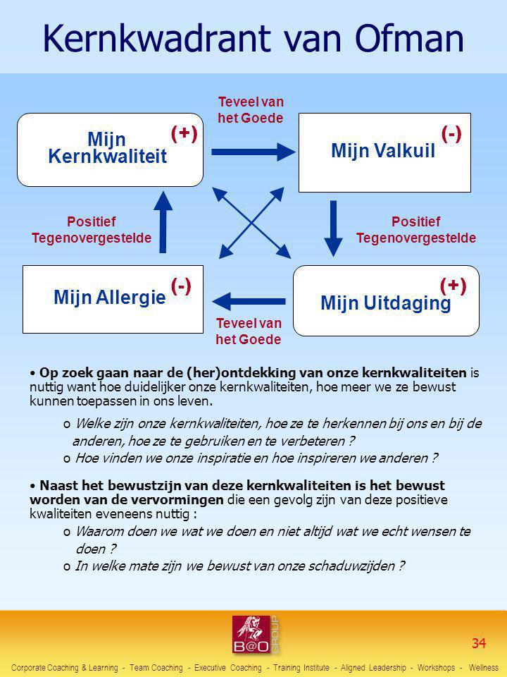 Kernkwadrant van Ofman Mijn Kernkwaliteit Mijn Valkuil Mijn Uitdaging Mijn Allergie (+)(+) (-)(-) (-)(-) (+)(+) Positief Tegenovergestelde Teveel van