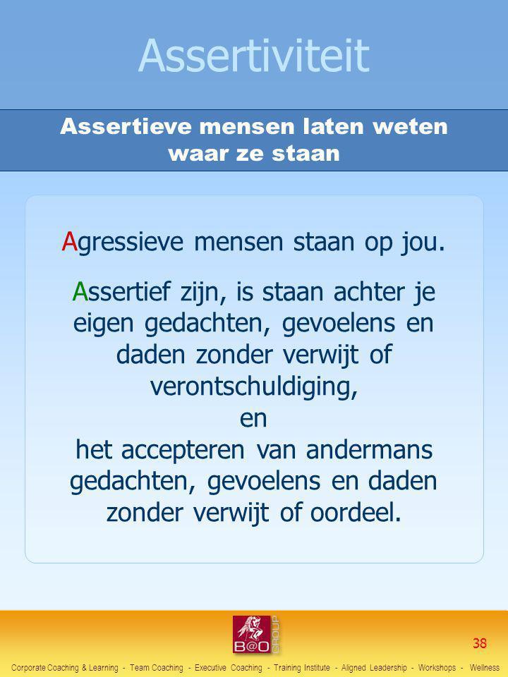 Assertiviteit Assertieve mensen laten weten waar ze staan Agressieve mensen staan op jou. Assertief zijn, is staan achter je eigen gedachten, gevoelen