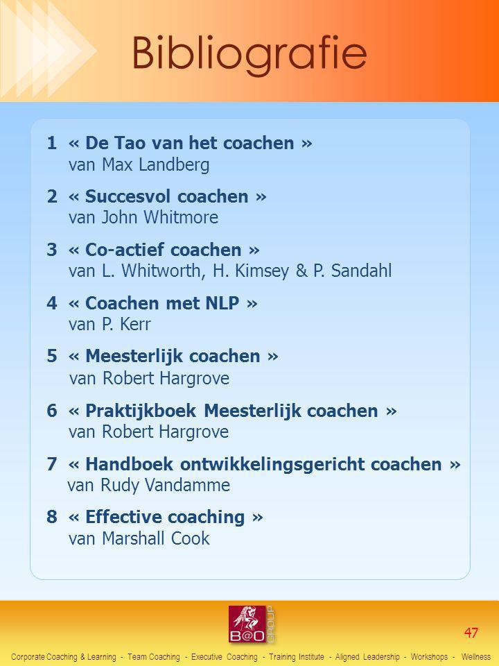 1 « De Tao van het coachen » van Max Landberg 2 « Succesvol coachen » van John Whitmore 3 « Co-actief coachen » van L. Whitworth, H. Kimsey & P. Sanda
