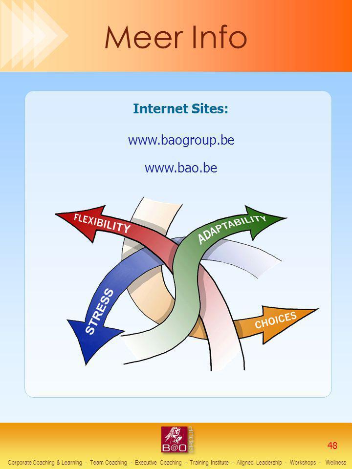 Internet Sites: www.baogroup.be www.bao.be Corporate Coaching & Learning - Team Coaching - Executive Coaching - Training Institute - Aligned Leadershi