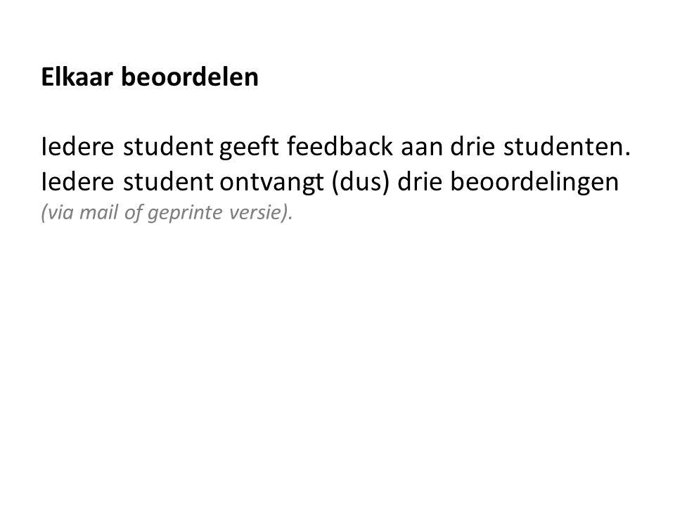 Elkaar beoordelen Iedere student geeft feedback aan drie studenten.