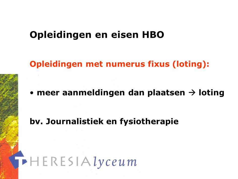 Opleidingen en eisen HBO Opleidingen met numerus fixus (loting): meer aanmeldingen dan plaatsen  loting bv.