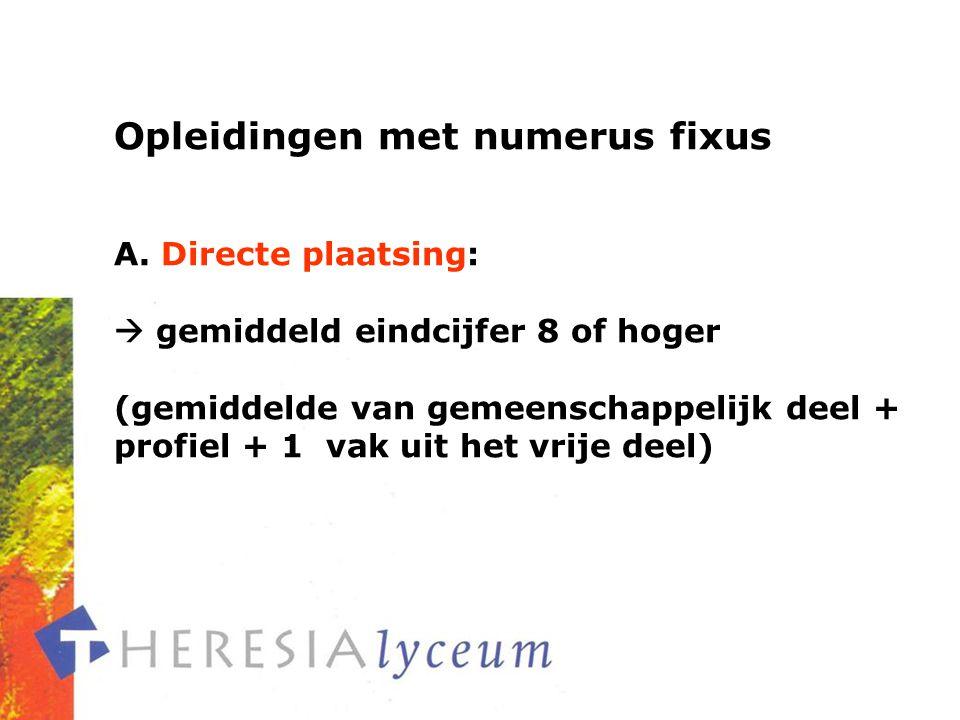 Opleidingen met numerus fixus A.