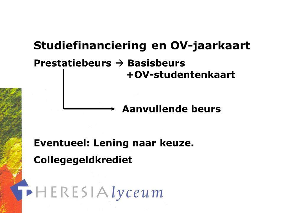 Studiefinanciering en OV-jaarkaart Prestatiebeurs  Basisbeurs +OV-studentenkaart Aanvullende beurs Eventueel: Lening naar keuze.