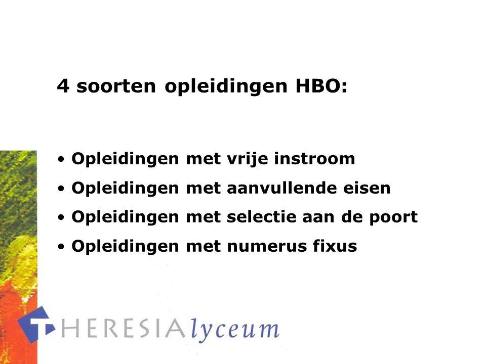 4 soorten opleidingen HBO: Opleidingen met vrije instroom Opleidingen met aanvullende eisen Opleidingen met selectie aan de poort Opleidingen met numerus fixus