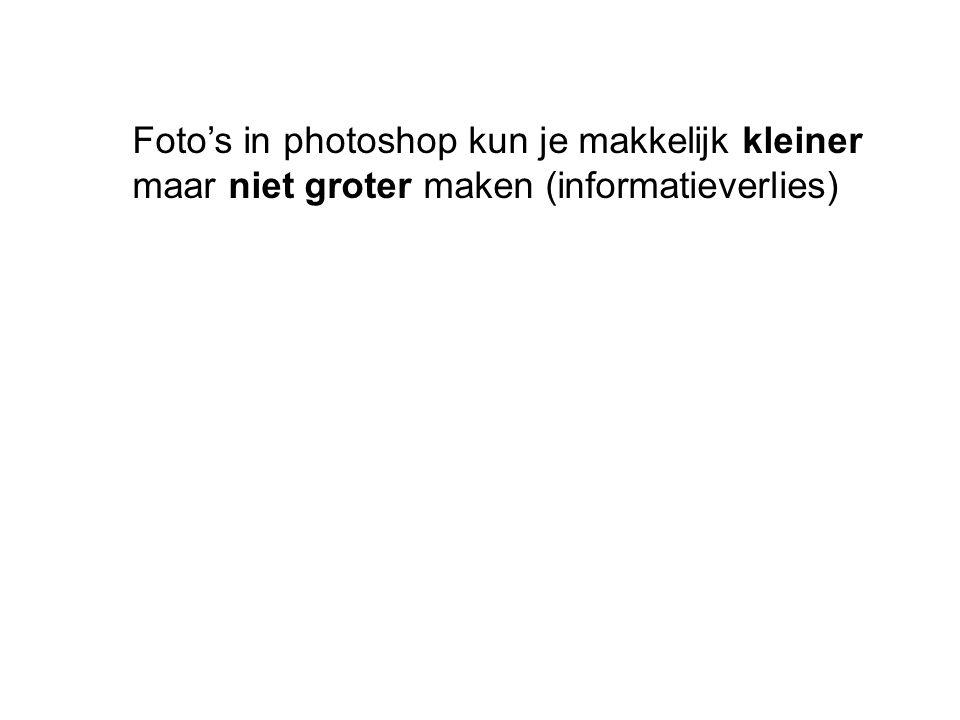 Foto's in photoshop kun je makkelijk kleiner maar niet groter maken (informatieverlies)