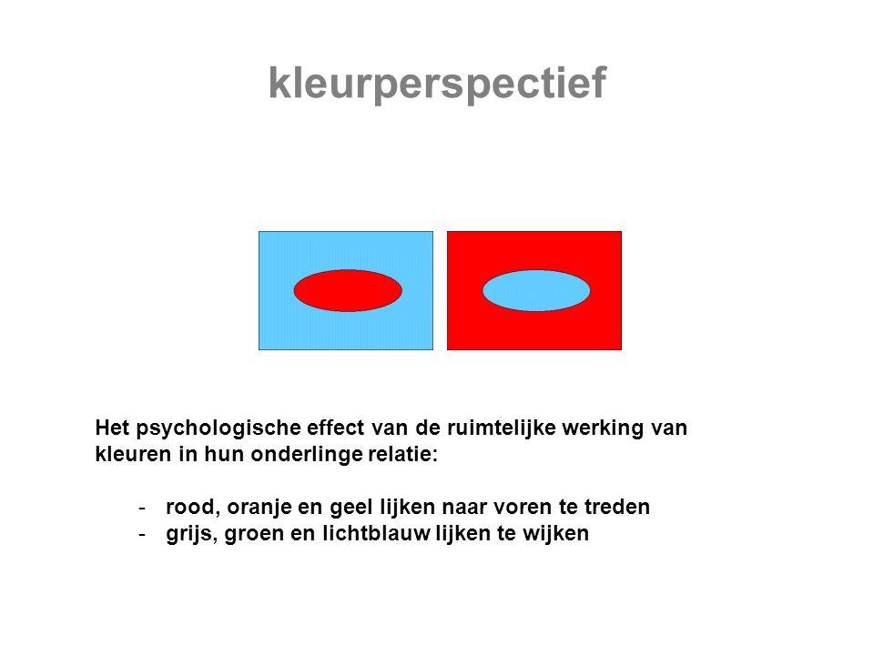 Het psychologische effect van de ruimtelijke werking van kleuren in hun onderlinge relatie: -rood, oranje en geel lijken naar voren te treden -grijs,