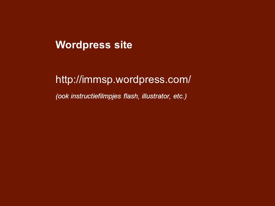 Wordpress site http://immsp.wordpress.com/ (ook instructiefilmpjes flash, illustrator, etc.)