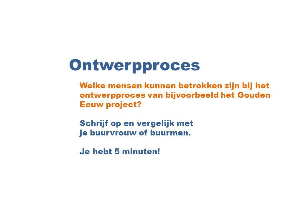 Ontwerpproces Welke mensen kunnen betrokken zijn bij het ontwerpproces van bijvoorbeeld het Gouden Eeuw project? Schrijf op en vergelijk met je buurvr