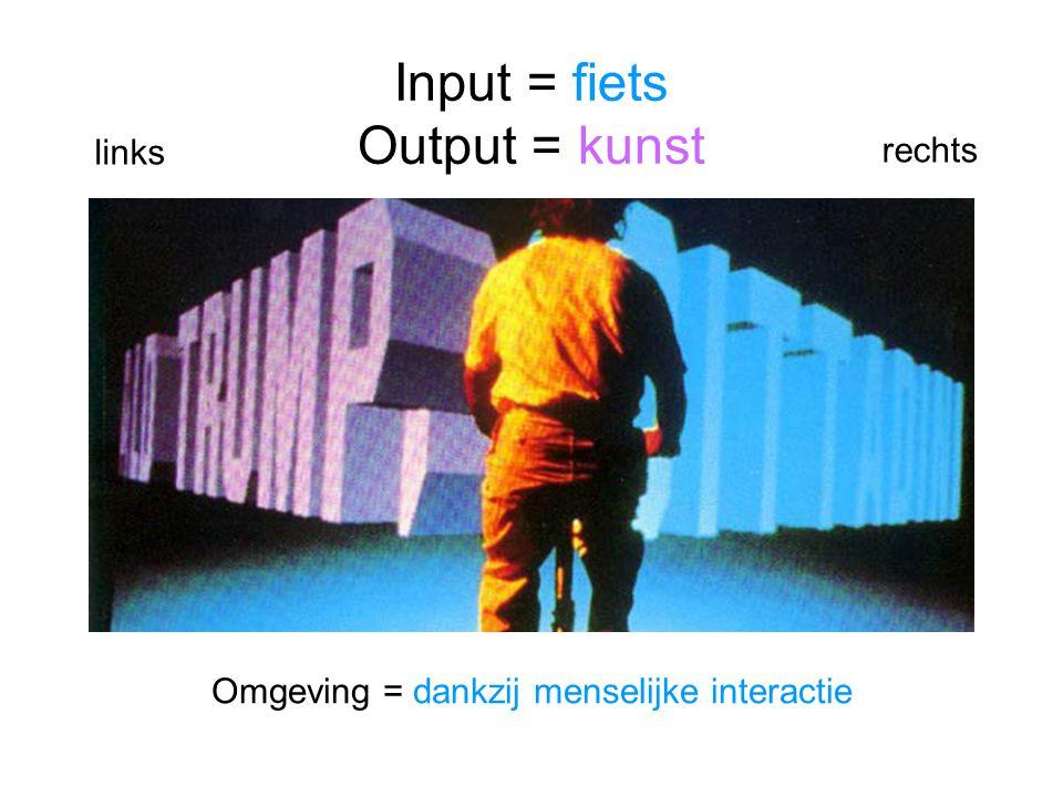 Input = fiets Output = kunst Omgeving = dankzij menselijke interactie links rechts