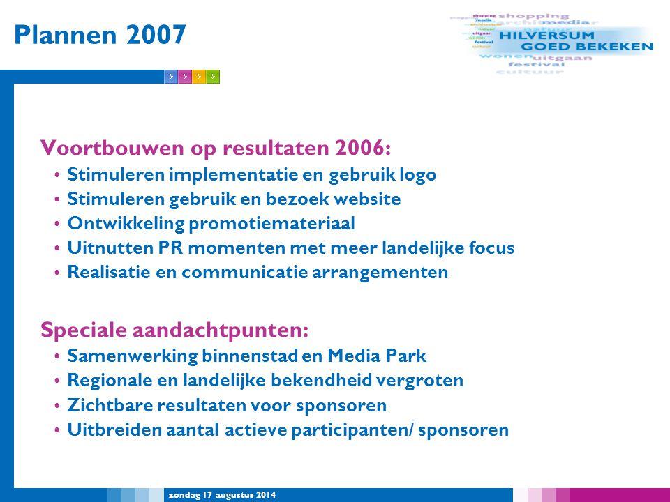 zondag 17 augustus 2014 Plannen 2007 Voortbouwen op resultaten 2006: Stimuleren implementatie en gebruik logo Stimuleren gebruik en bezoek website Ont