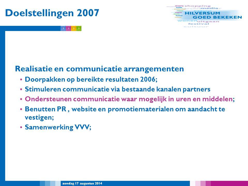 zondag 17 augustus 2014 Doelstellingen 2007 Realisatie en communicatie arrangementen Doorpakken op bereikte resultaten 2006; Stimuleren communicatie v