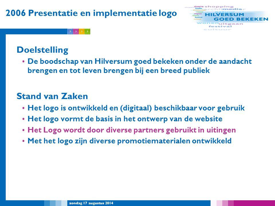 zondag 17 augustus 2014 2006 Presentatie en implementatie logo Doelstelling De boodschap van Hilversum goed bekeken onder de aandacht brengen en tot l