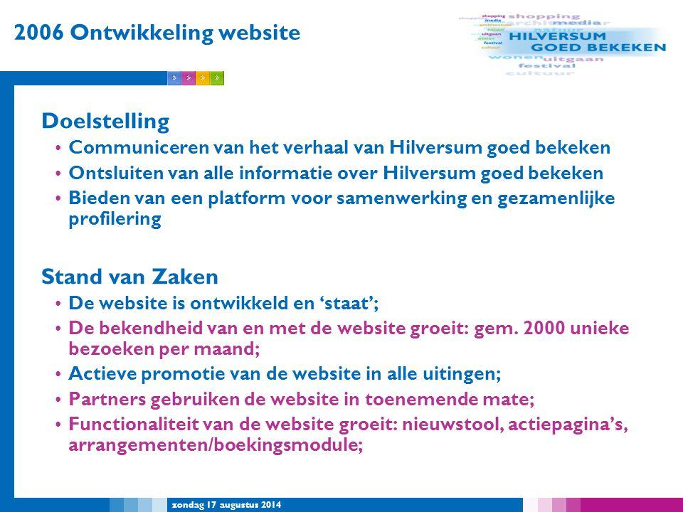 zondag 17 augustus 2014 2006 Ontwikkeling website Doelstelling Communiceren van het verhaal van Hilversum goed bekeken Ontsluiten van alle informatie