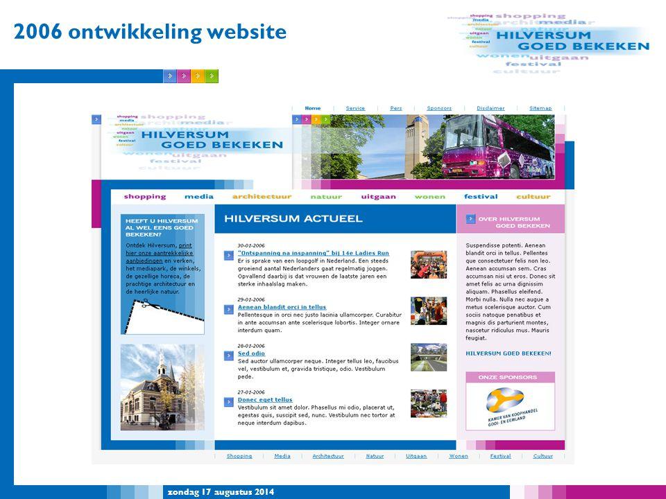zondag 17 augustus 2014 2006 ontwikkeling website