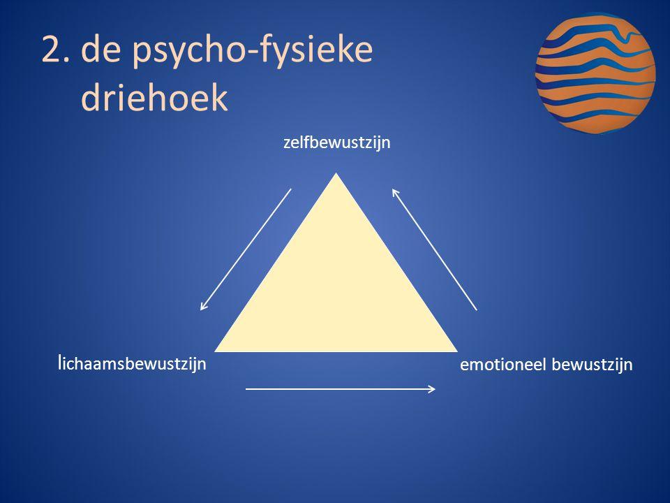 zelfbewustzijn l ichaamsbewustzijn emotioneel bewustzijn 2.de psycho-fysieke driehoek