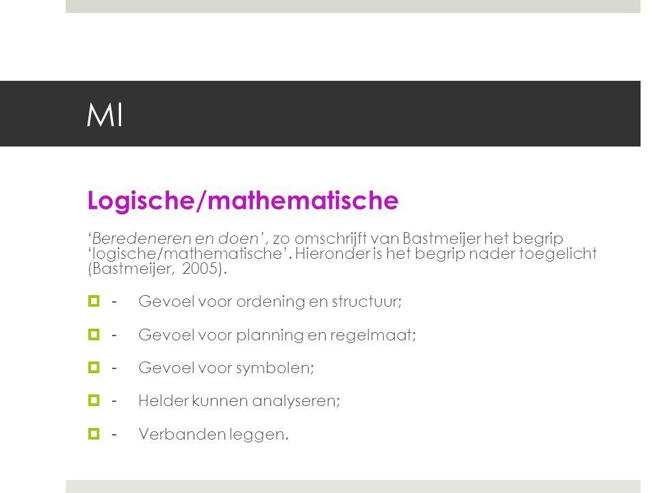 MI Muzikaal/ritmische 'Regelmaat ontdekken en doen', zo omschrijft Bastmeijer het begrip 'muzikaal/ritmische'.