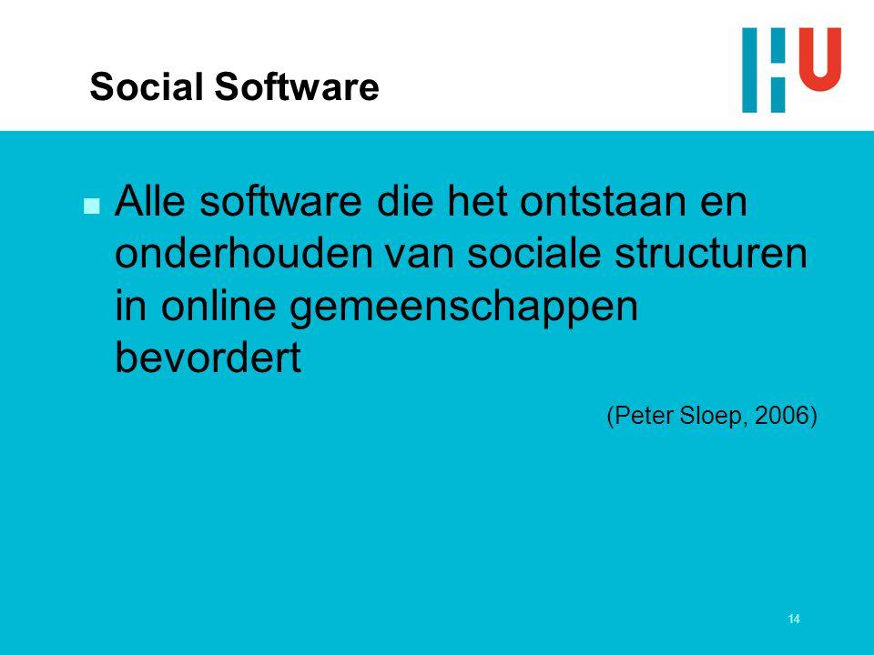 14 Social Software n Alle software die het ontstaan en onderhouden van sociale structuren in online gemeenschappen bevordert (Peter Sloep, 2006)