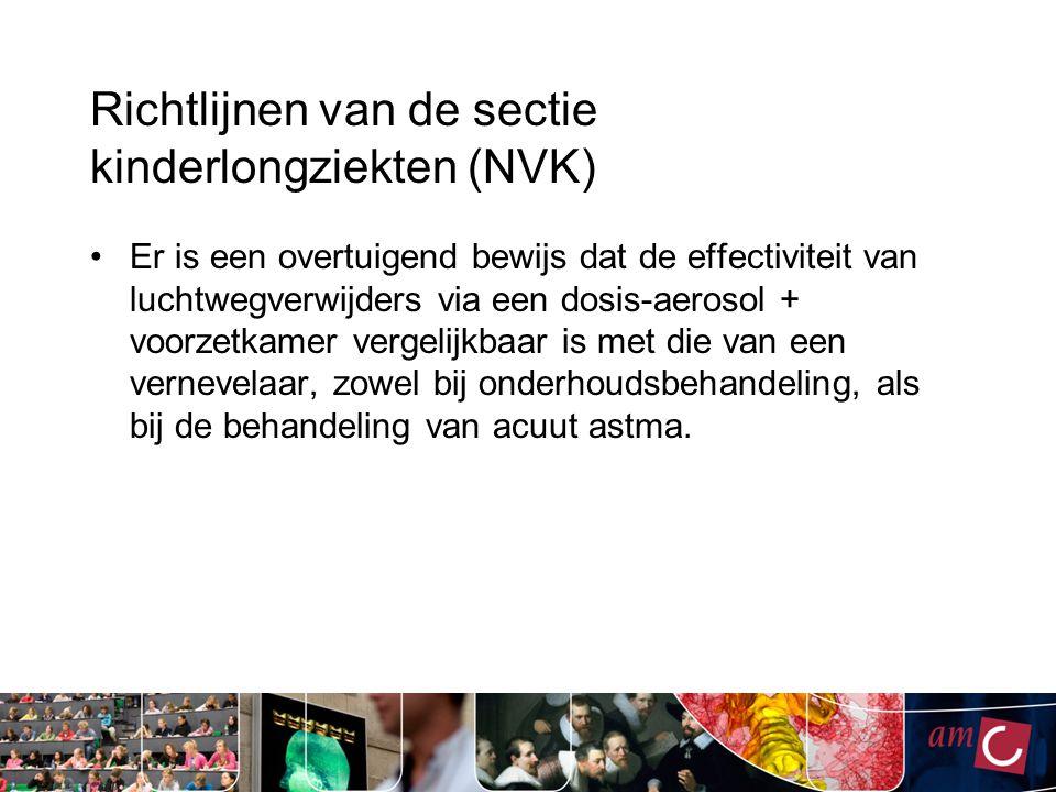 Richtlijnen van de sectie kinderlongziekten (NVK) Er is een overtuigend bewijs dat de effectiviteit van luchtwegverwijders via een dosis-aerosol + voo