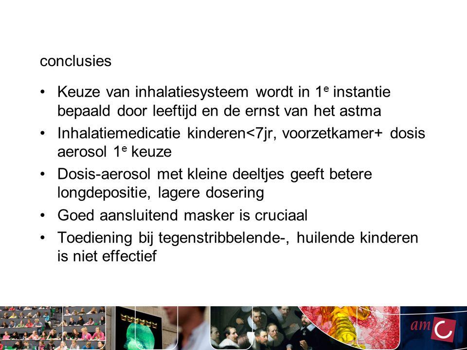 conclusies Keuze van inhalatiesysteem wordt in 1 e instantie bepaald door leeftijd en de ernst van het astma Inhalatiemedicatie kinderen<7jr, voorzetk