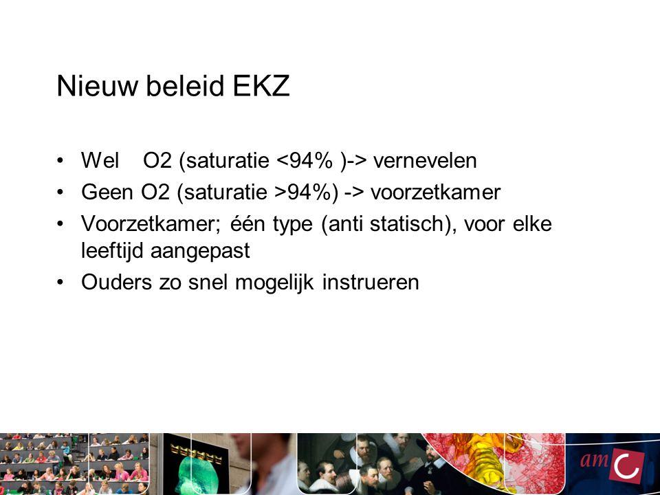 Nieuw beleid EKZ Wel O2 (saturatie vernevelen Geen O2 (saturatie >94%) -> voorzetkamer Voorzetkamer; één type (anti statisch), voor elke leeftijd aang