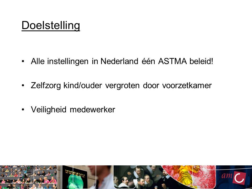 Doelstelling Alle instellingen in Nederland één ASTMA beleid! Zelfzorg kind/ouder vergroten door voorzetkamer Veiligheid medewerker