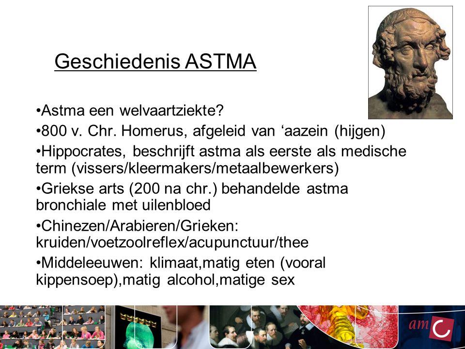 Geschiedenis ASTMA Astma een welvaartziekte? 800 v. Chr. Homerus, afgeleid van 'aazein (hijgen) Hippocrates, beschrijft astma als eerste als medische