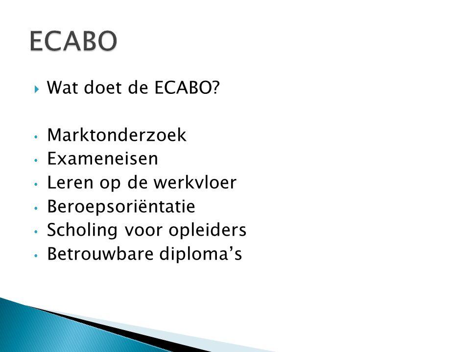  Wat doet de ECABO? Marktonderzoek Exameneisen Leren op de werkvloer Beroepsoriëntatie Scholing voor opleiders Betrouwbare diploma's