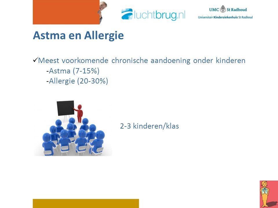 Astma en Allergie Meest voorkomende chronische aandoening onder kinderen -Astma (7-15%) -Allergie (20-30%) 2-3 kinderen/klas