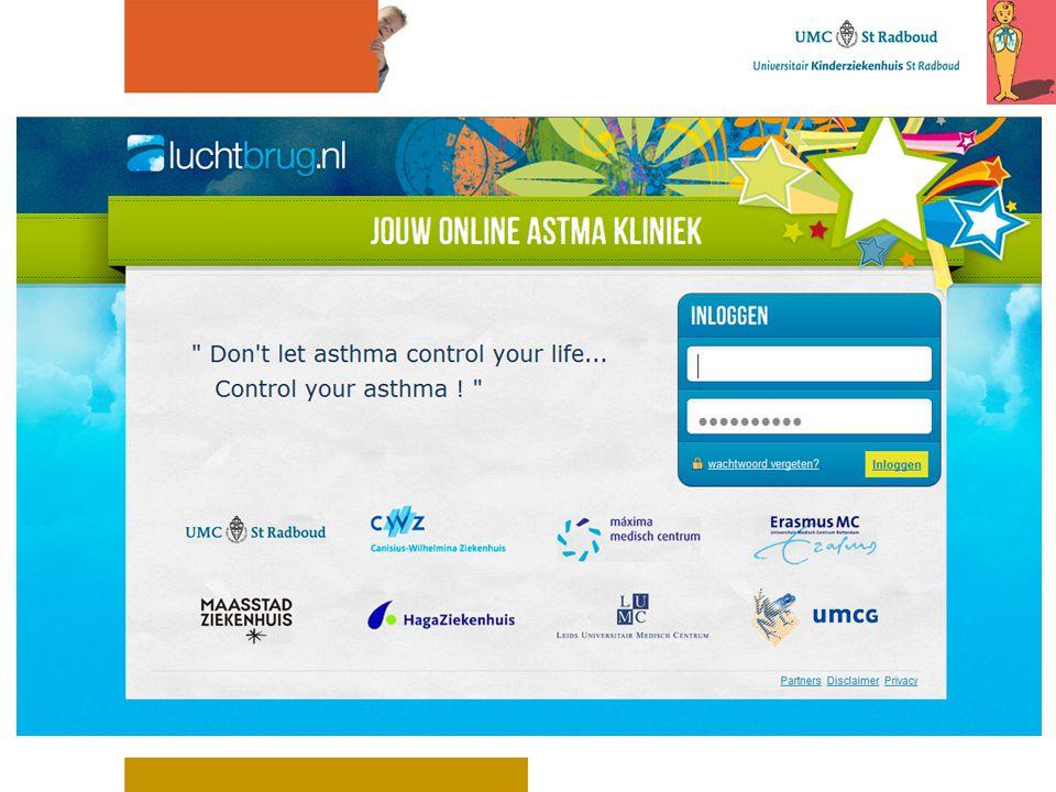 Visit 0 Virtuele astmakliniek 8 mnd 16 mnd Gebruikelijke zorg 8 mnd 4 mnd12 mnd 16 mnd