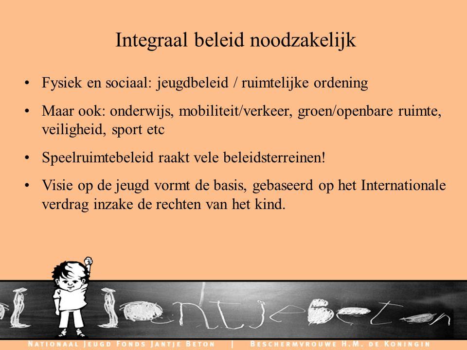 C H I L D F R I E N D L Y C I T I E S Integraal beleid noodzakelijk Fysiek en sociaal: jeugdbeleid / ruimtelijke ordening Maar ook: onderwijs, mobilit