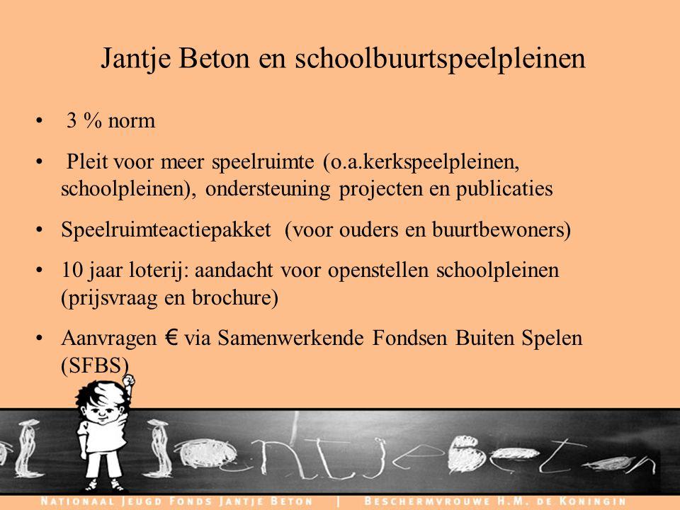 C H I L D F R I E N D L Y C I T I E S Jantje Beton en schoolbuurtspeelpleinen 3 % norm Pleit voor meer speelruimte (o.a.kerkspeelpleinen, schoolpleine