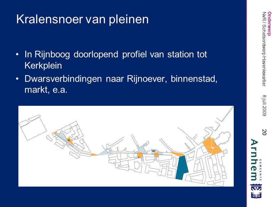 Onderwerp 20 8 juli 2009 NvR / Schetsontwerp Havenkwartier Kralensnoer van pleinen In Rijnboog doorlopend profiel van station tot Kerkplein Dwarsverbindingen naar Rijnoever, binnenstad, markt, e.a.