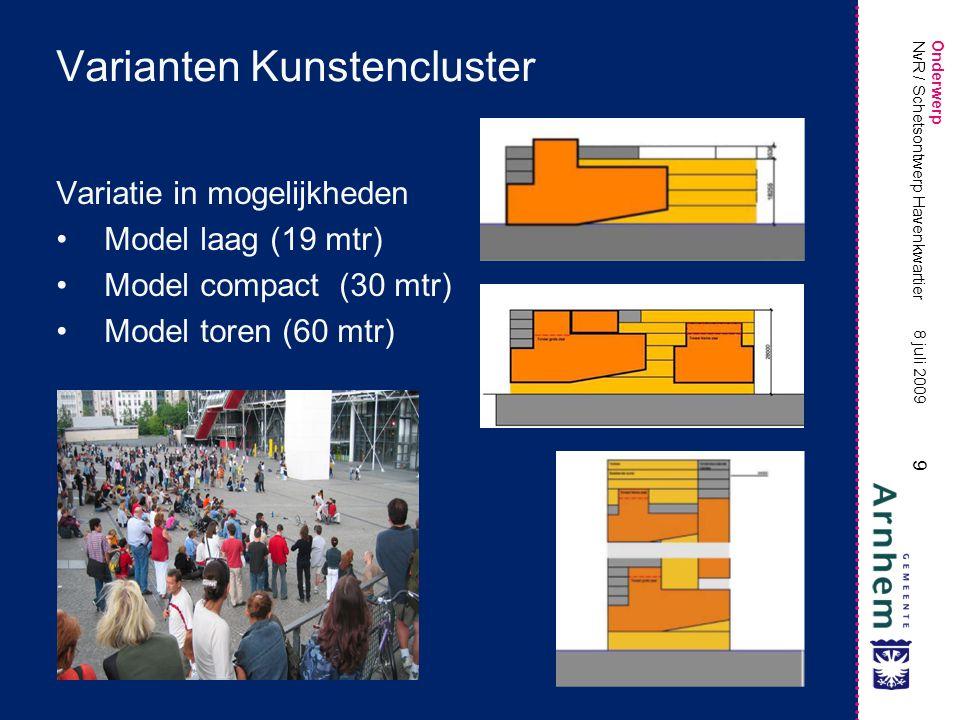 Onderwerp 9 8 juli 2009 NvR / Schetsontwerp Havenkwartier Varianten Kunstencluster Variatie in mogelijkheden Model laag (19 mtr) Model compact (30 mtr) Model toren (60 mtr)