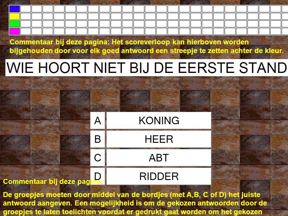 Commentaar bij deze pagina: De groepjes moeten door middel van de bordjes (met A,B, C of D) het juiste antwoord aangeven.
