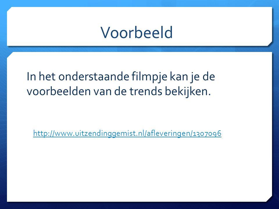 Voorbeeld http://www.uitzendinggemist.nl/afleveringen/1307096 In het onderstaande filmpje kan je de voorbeelden van de trends bekijken.