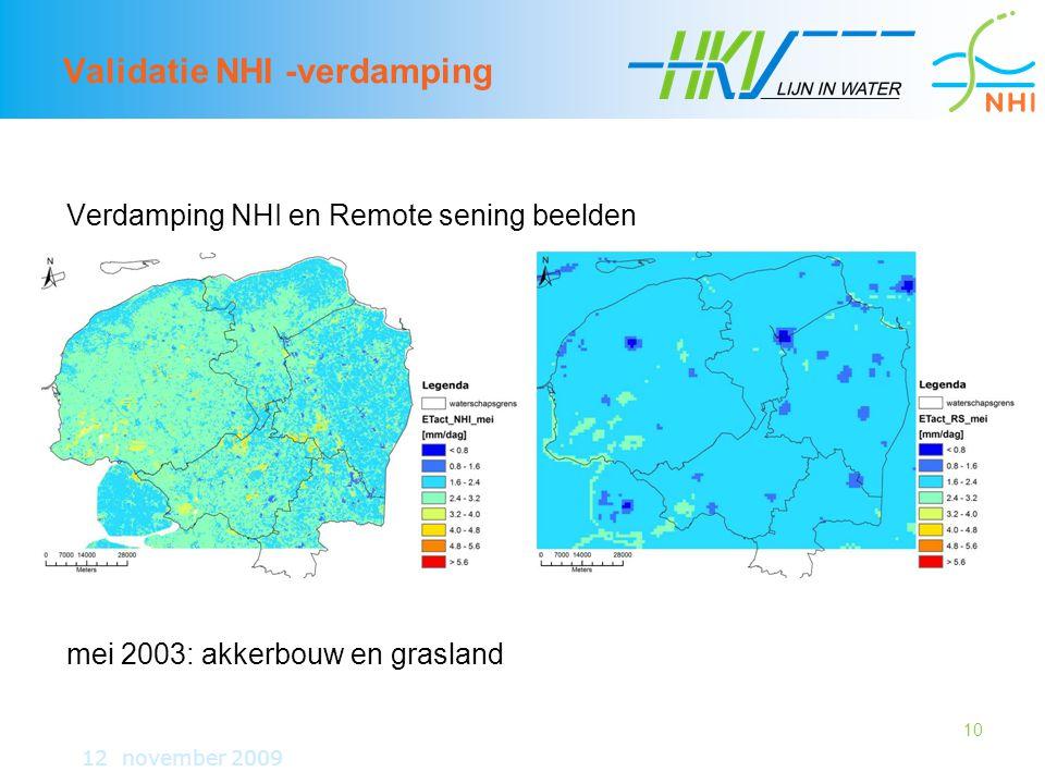 10 Validatie NHI -verdamping Verdamping NHI en Remote sening beelden mei 2003: akkerbouw en grasland 12 november 2009