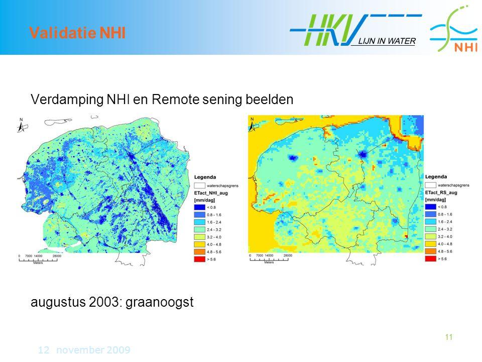 11 Validatie NHI Verdamping NHI en Remote sening beelden augustus 2003: graanoogst 12 november 2009