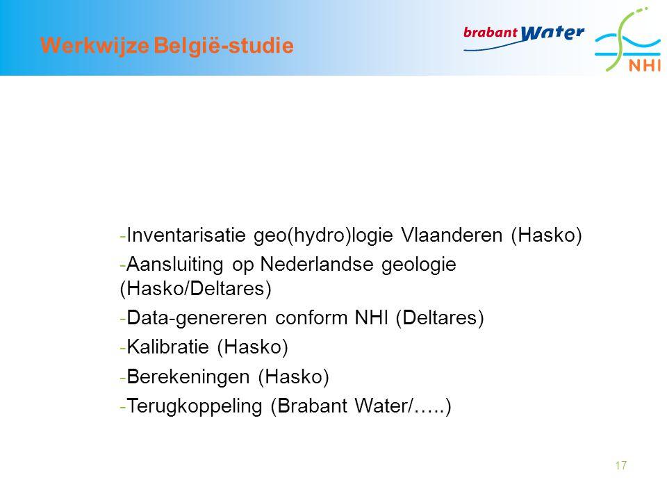 17 Werkwijze België-studie -Inventarisatie geo(hydro)logie Vlaanderen (Hasko) -Aansluiting op Nederlandse geologie (Hasko/Deltares) -Data-genereren conform NHI (Deltares) -Kalibratie (Hasko) -Berekeningen (Hasko) -Terugkoppeling (Brabant Water/…..)