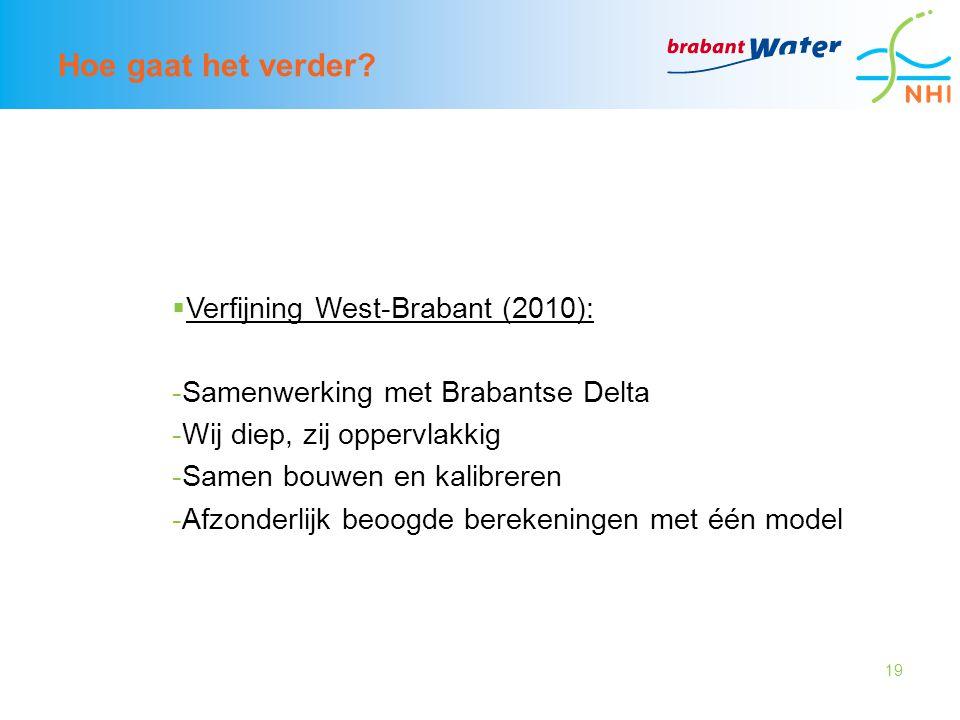 19 Hoe gaat het verder?  Verfijning West-Brabant (2010): -Samenwerking met Brabantse Delta -Wij diep, zij oppervlakkig -Samen bouwen en kalibreren -A