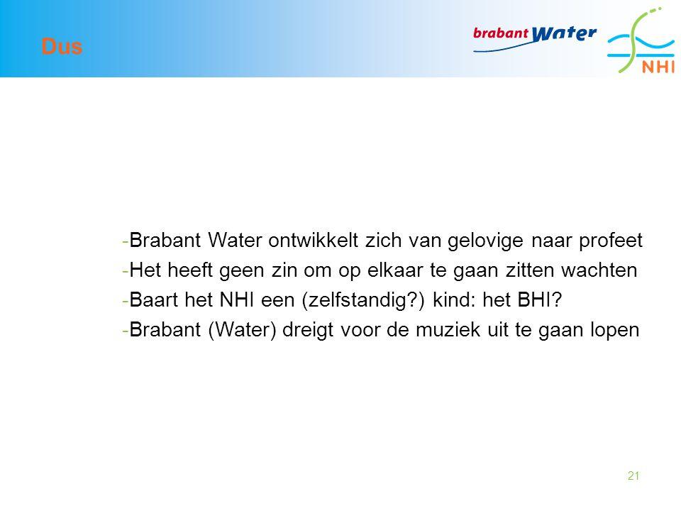 21 Dus -Brabant Water ontwikkelt zich van gelovige naar profeet -Het heeft geen zin om op elkaar te gaan zitten wachten -Baart het NHI een (zelfstandig?) kind: het BHI.
